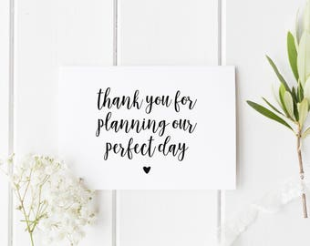 Wedding Planner Thank You Card, Card For Wedding Planner, Thank You For Planning Our Perfect Day, Card For Wedding Planner, Wedding Thankyou