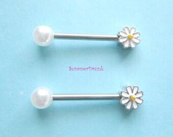 Pearl nipple ring, Nipple piercing, Pearl nipple piercing , Flower Nipple jewelry, Pearl nipple jewelry, Nipple ring, Boho nipple ring