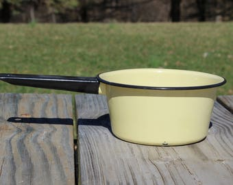 Yellow Medium Enamelware Sauce Pan, Cooking Pot
