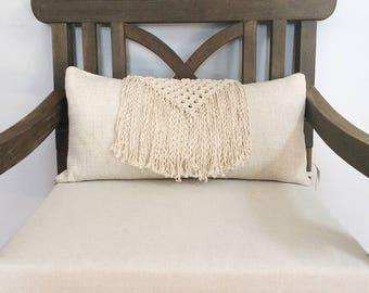 Macramé Pillow with Long Fringe, Boho Pillow with Square Knot Triangle, Macramé Home Decor, 12x22 Decorative Accent Macrame Pillow