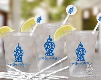 Ginger Jar Party   Customizable Clear Disposable Cups   Birthdays, Weddings, Engagement Bridal Parties or Baby Shower   social graces and Co