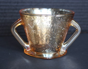 Vintage Peach Iridescent Glass, Carnival Glass Sugar Bowl, Jeannette Glass Flora Gold Louisa, Double Handle (D103)
