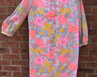 1960s Plus Size Psychedelic Floral Tunic Dress ** PLUS SIZE **
