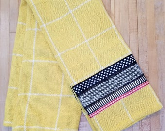 Embellished Hand Towel, Yellow and White Plaid, House Warming Gift, Kitchen Towel, Decorated Hand Towel, One of a Kind, MarjorieMae