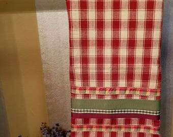 Embellished Hand Towel, Red & Cream Checked, House Warming Gift, Kitchen Towel, Decorated Hand Towel, One of a Kind, MarjorieMae