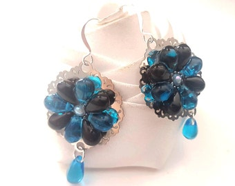 black and blue/turquoise flowers earrings