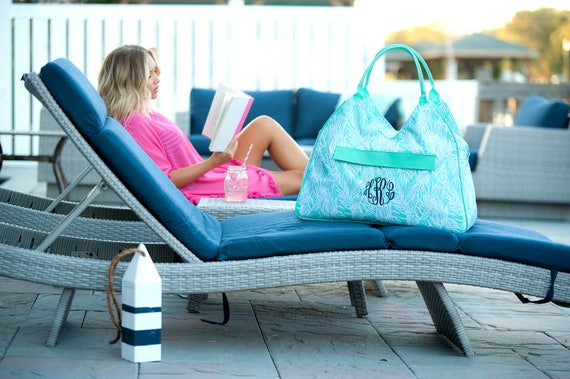 Monogrammed Bag Aqua Palm Tree Beach Bag Mint Palm Accessories Bridesmaids Gifts Weddings Overnight Bag Monogrammed Gifts Highway12Designs