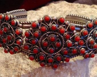 Vintage Old Pawn Coral & Sterling Silver Flower Bracelet