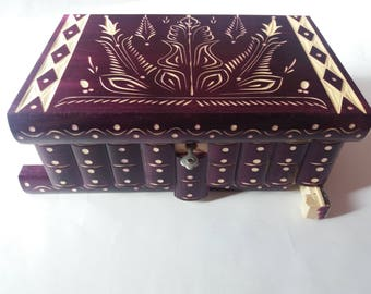 Huge puzzle box treasure adventure mystery magic box jewelry violet storage wooden case hidden chest drawer box gift toy special edition