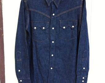 Vintage 50's Longhorn Sanforized Sawtooth Denim Western Shirt