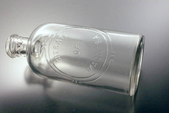 Antique Bottle, Citrate of Magnesia, Clear Glass, Embossed, Crown Top, Circa 1910s, Medicine, Cure, Pharmaceutical Bottle, Laxative