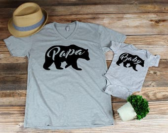 father's day gift- fathers day tshirt set , papa bear ,  baby bear bodysuit , dad and baby matching shirts, matching outfits, father son