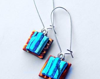 Mod Style Earrings, Shimmering Blue Glass Earrings, Dichroic Fused Glass Jewelry, The Chromatic Rabbit, Kidney Hook Earrings, Long Dangle