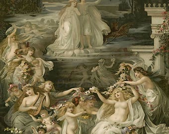 "John Hoppner ""Midsummer Nights Dream"" 1800s William Shakespeare Reproduction Digital Print  Wall Home Decor"