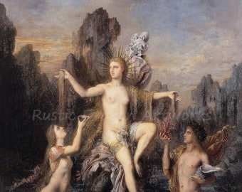 "Gustave Moreau ""Venus Rising From The Sea"" 1866 Reproduction Digital Print Mythology Roman Goddess Love Beauty"
