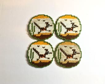 Vintage Round Coasters Cross Stitch Roadrunners Handmade Green Felt Backing Retro Desert Oasis Set of Four 1970s