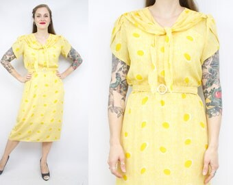 Vintage 80's 90's Yellow Sailor Summer Dress / 1990's Semi-Sheer Dress / Tulip Sleeves / Women's Size Large
