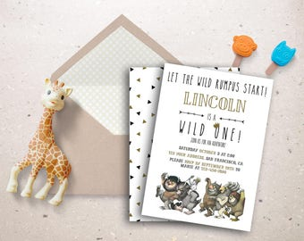 Where the wild things are invitation- printable or printed  // wild rumpus // first birthday // wild one // kids // children // second