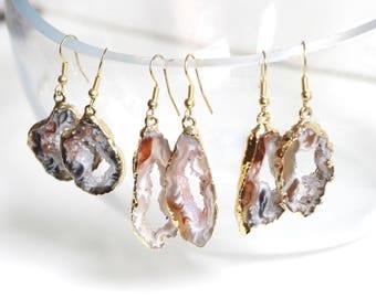 Geode Earrings, Rock Earrings, Boho Earrings, Stone Earrings, Dangle Earrings Gold, Geode Slice Jewelry, Earrings Dangle, Earrings Gold