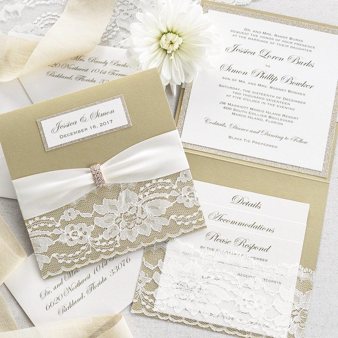 Square Lace Pocket Wedding Invitation- Champagne