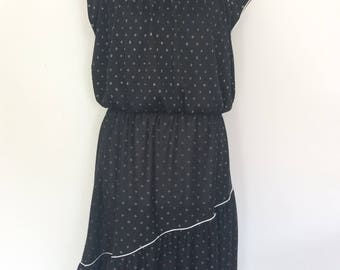 Vintage 70s tea dress by Jackie O! Division of Surf and Turf of California black white spotted prairie dress size small