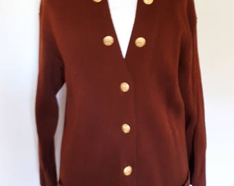 Vintage Escada Margaretha Ley cardigan oversize 80s brown tan wool cardigan with brass buttons size small medium large