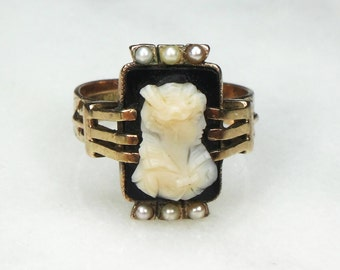Victorian Hardstone Cameo Ring 10k Gold Cameo Ring with Seed Pearls Vintage Cameo Ring Antique Gold Ring Vintage Gold Ring Circa Late 1800's
