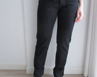LEVI'S 501 High Waisted Jeans, Black High Waist LEVI STRAUSS Jeans 80s, women High Waist Straight Leg Black Jeans, Size 29''/32''
