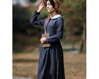 Blue Linen Dress for Women, Linen Maxi Dress for Girl, Linen Tunic Dress Long Sleeve, Casual Vintage Linen Dresses