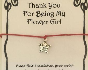 Thank you flowergirl, card, wish, bracelet, charm, flowergirl, gift, flower girl, card, wedding, various charms colours
