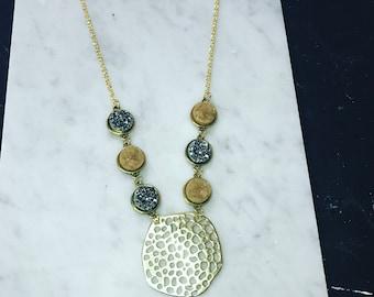 Statement Necklace | Druzy Necklace | Gold Necklace |