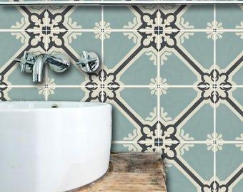 Kitchen and Bathroom Vinyl Tile Sticker Splash back - Removable Vinyl Wall Decal - Samsara Celadon - Peel & Stick Wallpaper