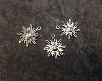 Sun Charms with antique silver  finish Package of 3 charms perfect for adjustable bangle bracelets Beach theme charms