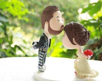 Cute couple kiss. Soccer fan. Wedding cake topper. Wedding figurine. Bride and Groom. Handmade. Fully customizable. Unique keepsake