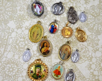 Religious Supply LOT of 14 Religious Medals Pendants Assorted Styles Repurposing Lot Reuse Lot Religious Destash Lot Medal Lot #3677