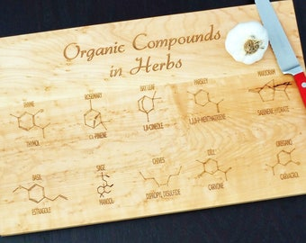 Organic compounds cutting board or serving board. Chemistry themed cutting board, great geek gift, graduation gift or teachers gift!