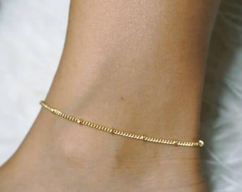 Gold anklet bracelet, Ankle bracelet, Gold anklet, Beaded Anklet, Ankle jewelry, Body jewelry, Beach Anklet, Dainty Anklet, Boho Anklet