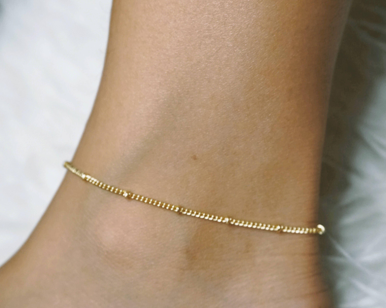 Gold Anklet Bracelet Ankle Bracelet Gold Anklet Beaded