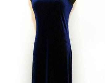 90s Dress, Vintage Navy Velvet Spaghetti Strap Mini Dress