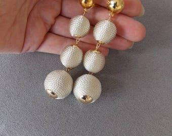 Cream Thread Ball Clip-On Earrings