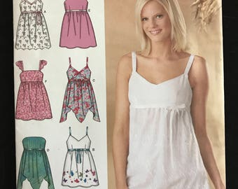 Simplicity 4127 - Easy Sleeveless or Strapless Summer Tops with Raised Waists - Size 6 8 10 12 14