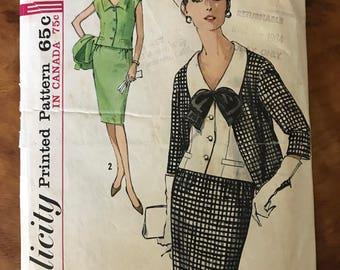 Simplicity 5298 - 1960s Paris Fashion Misses Suit and Weskit Blouse - Size 14 Bust 34