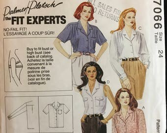 McCalls 7066 - 3 Hour Button Front Blouse with Notched Collar by Palmer Pletsch Fit Experts Size 24 Bust 46