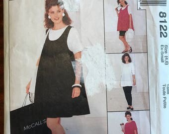 McCalls 8122 - Maternity Dress, Tank Top, Pull On Pants, Shorts, and Skirt for Stretch Knits - Size XS 4 6