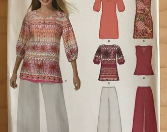 New Look 6949 - Dress, Tunic or Top with Kurti Style Neckline and Wide Legged Pants with Side Closure - Size 10 12 14 16 18 20 22
