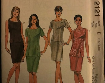 McCalls 2121 - Princess Seamed Top and Straight Knee Length Skirt - Size 14 16 18