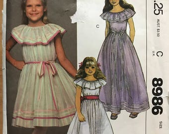 McCalls 8986 - 1980s Girl's Ruffled Collar Dress with Flared Skirt in Knee or Maxi Length - Size 8 Breast 27