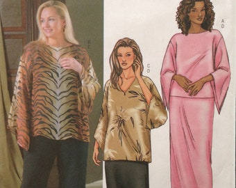 Butterick 4039 Fast and Easy Boat or V Neck, Wide Sleeve Top or Tunic with Pull On Pants or Skirt - Size 16 18 20