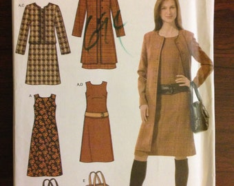 Simplicity 4945 - Easy Chic A-Line Dress, Coat, Jacket, Belt, and Purse - SIze 16 18 20 22