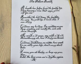 The Fallen Branch - A Poem to Celebrate Life, Funeral Poem/ Bereavement Poem - Print Available